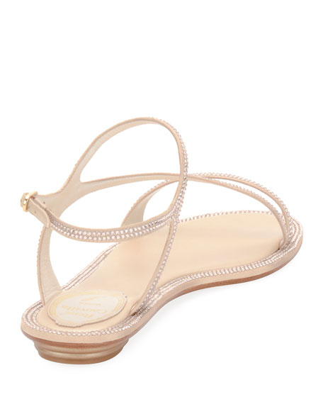 Strass Flat Strappy Sandals, Neutral
