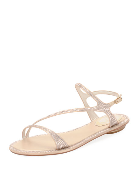 RENÉ CAOVILLA Strass Flat Strappy Sandals, Neutral