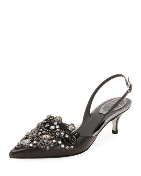 Jeweled Leather Slingback Pumps