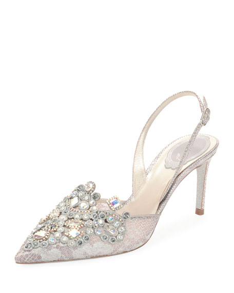 Jeweled Leather Slingback Pumps