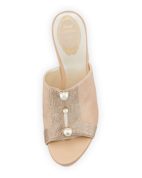Pearly Suede Platform Slide Sandal