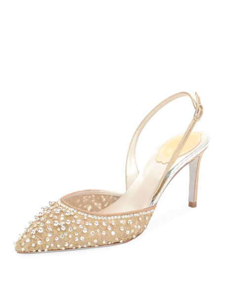 Embellished Lace Slingback Pumps