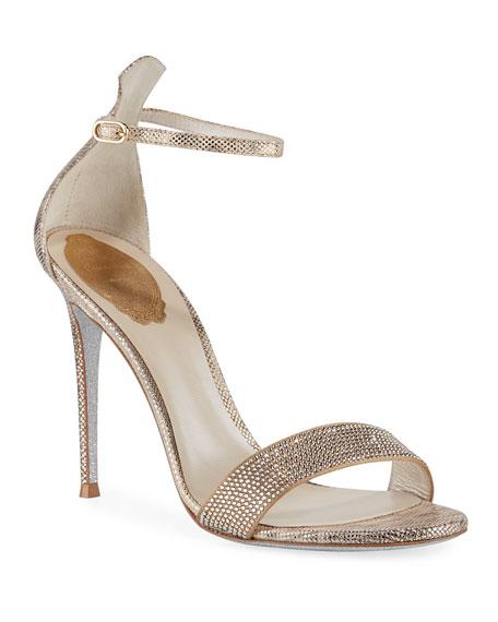 Rene Caovilla Crystal-Studded Metallic Snakeskin Ankle-Wrap Sandal