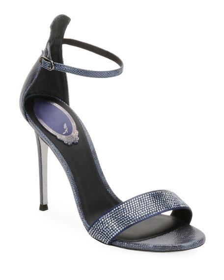 Crystal-Studded Snakeskin Ankle-Wrap Sandal