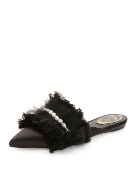Rene Caovilla Satin Flat Mule with Pearly Strap