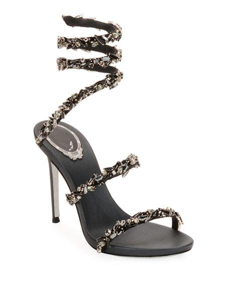 Snake-Coil Sandal With Crystal Detail, Black