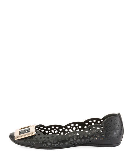 Gommette Perforated Calf Leather Ballet Flats with Metal Buckle
