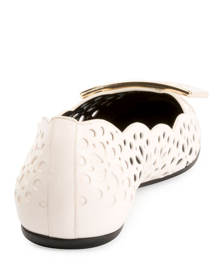 Gommette Perforated Lamb Leather Ballet Flats with Metal Buckle