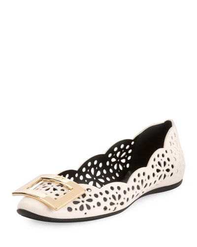 Gommette Perforated Lamb Leather Ballerina Flat with Metal Buckle