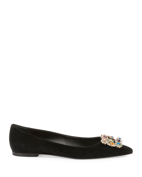 Suede Ballet Flat with Flower-Crystal Buckle