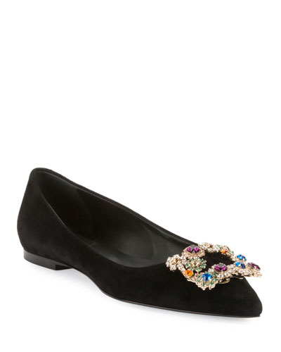 Suede Ballerina Flat with Flower-Crystal Buckle