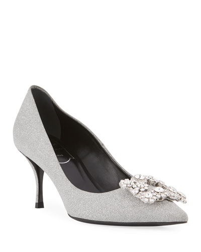 Glitter Fabric Flower-Crystal Buckle Pump