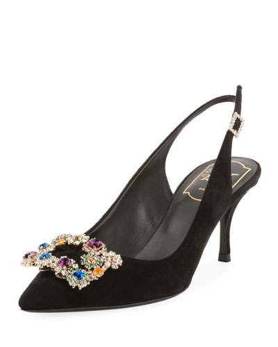 Suede Crystal Flower-Buckle Slingback Pump