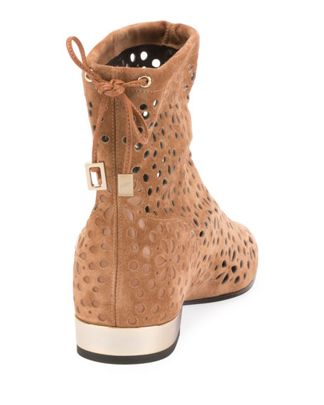 Floral-Perforated Suede Flat Booties