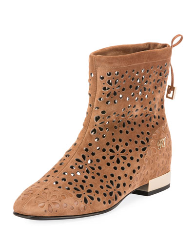Floral-Perforated Suede Flat Bootie