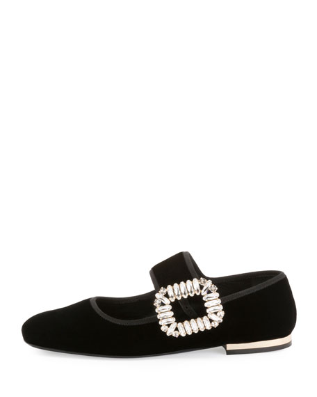 Crystal-Buckle Velvet Mary Jane Flat