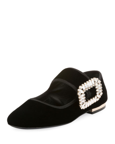 Roger Vivier Crystal-Buckle Velvet Mary Jane Flat