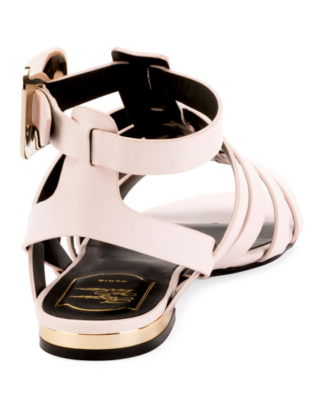 Mini Buckle Strappy Flat Calf Leather Sandal