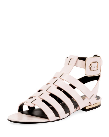Roger Vivier Mini Buckle Strappy Flat Calf Leather