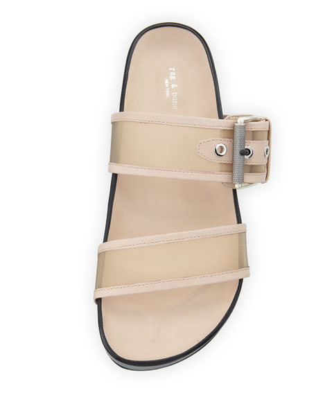 Evin Mesh Platform Two-Band Ergonomic Slide Sandal