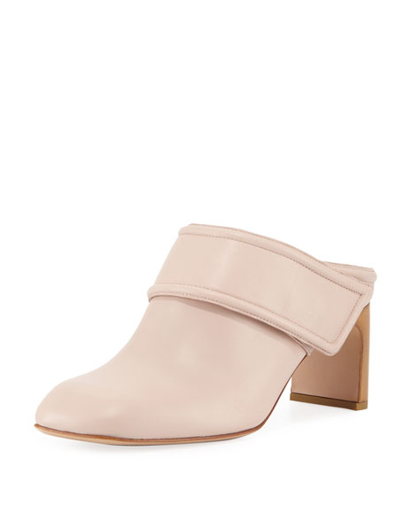 Elliot Mid-Heel Leather Mule