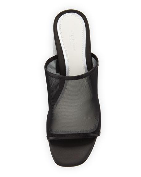 Emmy Mesh Block-Heel Slide Sandal