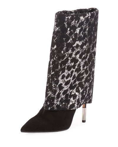 Babette Sequined and Suede Bootie