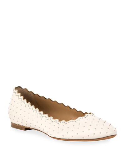 Lauren Scalloped Leather Ballerina Flat with Studs