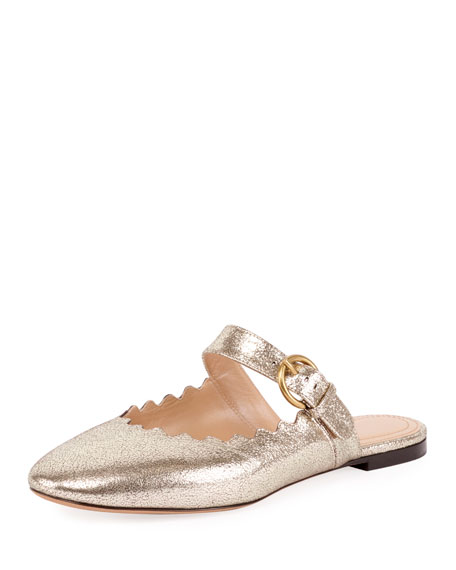Lauren Scalloped Metallic Slide Mule