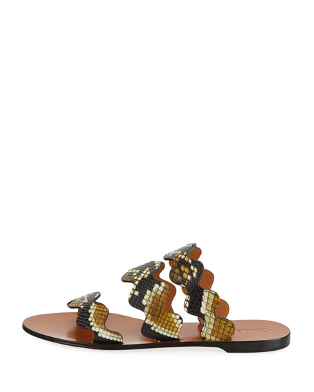 Flat Wave Scalloped Slide Sandals