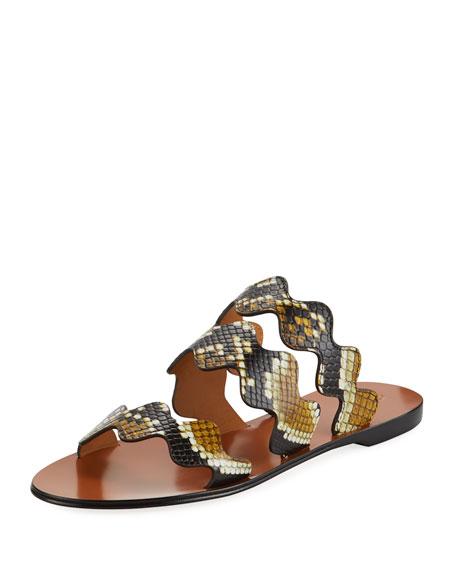 Flat Wave Scalloped Slide Sandals