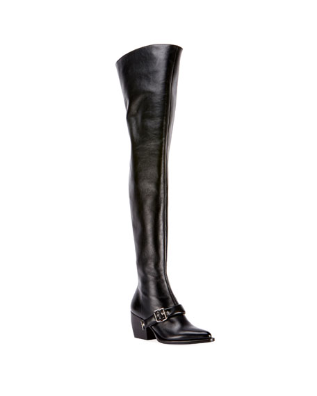 Women'S Rylee Pointed Toe Tall Leather Boots, Black