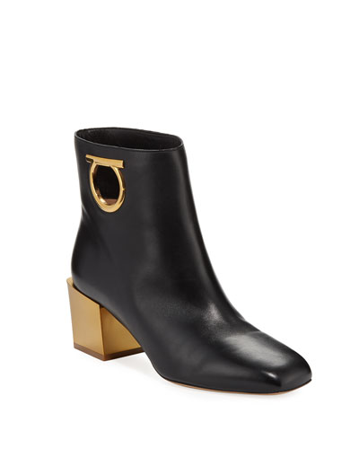 Gancio Leather Ankle Booties