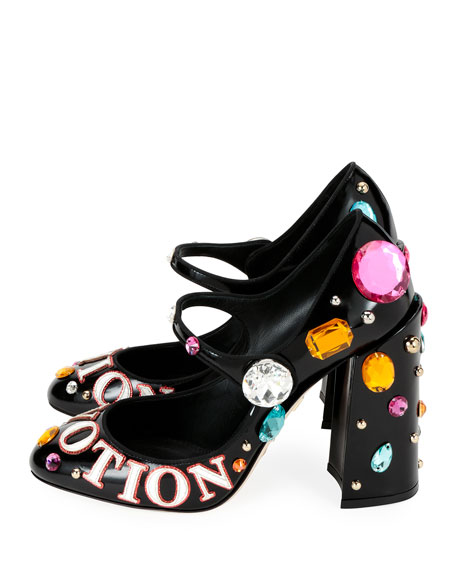 """Fashion Devotion"" Embellished Leather Mary Jane Pumps"