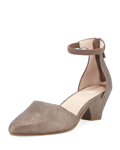 Eileen Fisher Just Metallic Leather Low-Heel Pumps