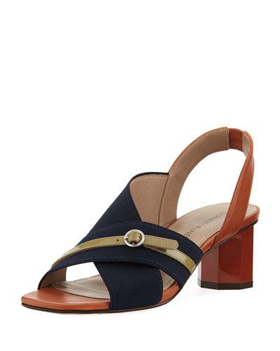 Radly Grosgrain Octagonal-Heel Slingback Sandal