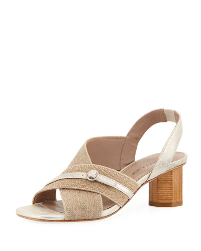Radly Linen Octagonal-Heel Slingback Sandal