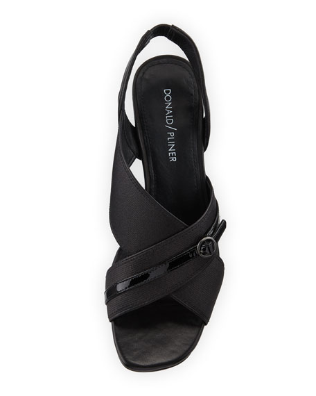 Radly Metallic Fabric Octagonal-Heel Slingback Sandal