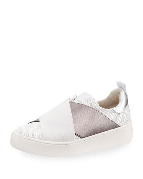 Men's Coley Crisscross Slip-On Sneaker, White/Silver