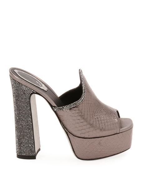Embellished Python Platform Slide Sandal