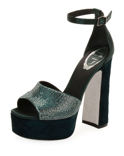 Satin and Velvet Ankle-Wrap Platform Sandal