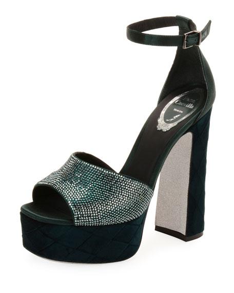 Satin and Velvet Ankle-Wrap Platform Sandal