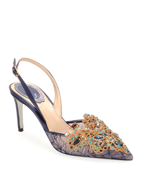 Rene Caovilla Embroidered Lace/Satin Halter Slingback Pumps