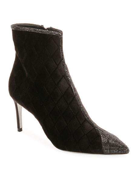 Quilted Velvet Strass Booties