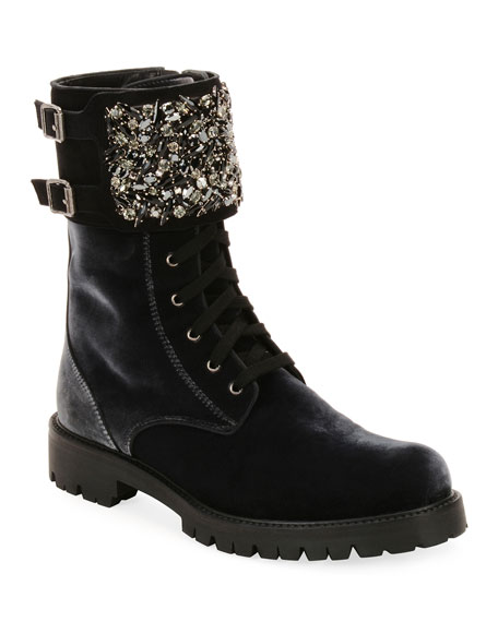 Velvet Combat Boot with Crystal Monk Strap