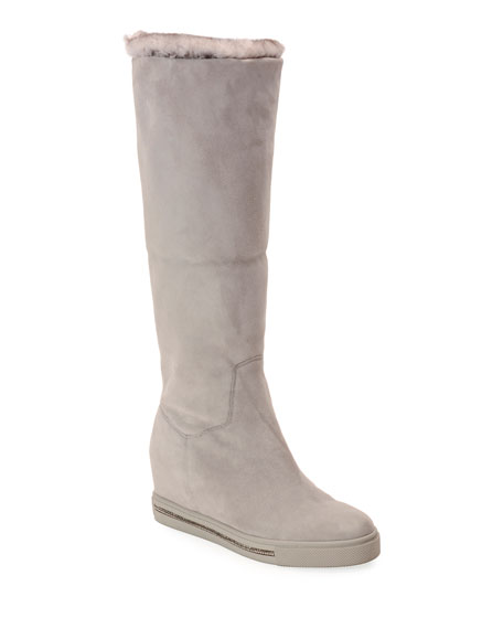 Skiara Suede Wedge Knee Boots with Fur Lining