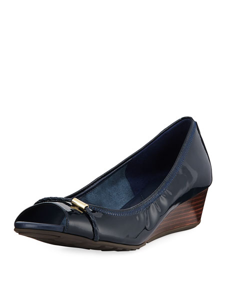 Cole Haan Emory Patent Wedge Open-Toe Pump