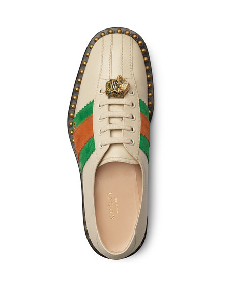 Leather Lace-Up Bowling Shoe Sneakers