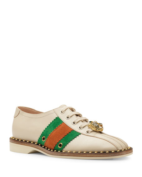 Gucci Leather Lace-Up Bowling Shoe Sneakers