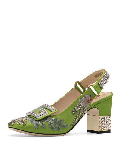 Beaded Grosgrain Slingback Pumps with Crystal G